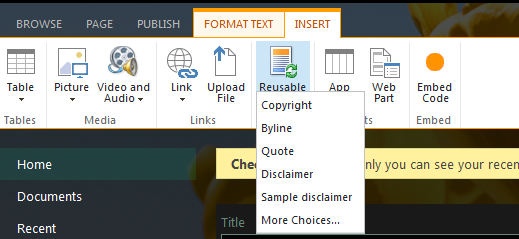 SharePoint 2013 Resuable Content