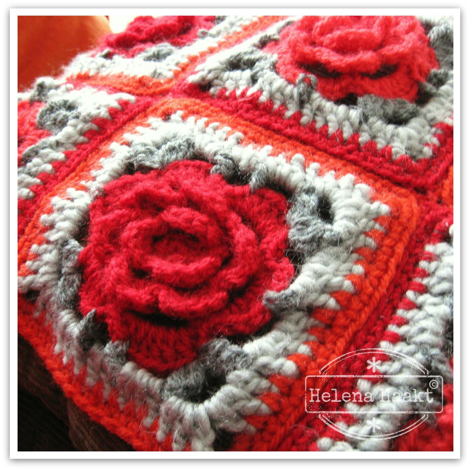 Stoere granny met roos haken
