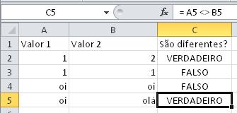 Como saber se células são diferentes - Operador de comparação <>