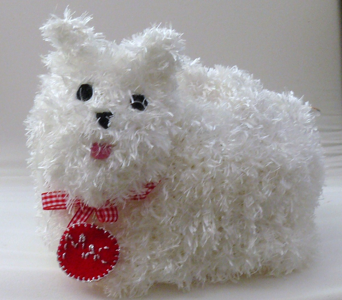 The Fluffy Duck: White fluffy crochet Westie Dog tea cosy