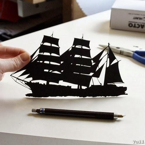 Cắt giấy thủ công hình thuyền buồm