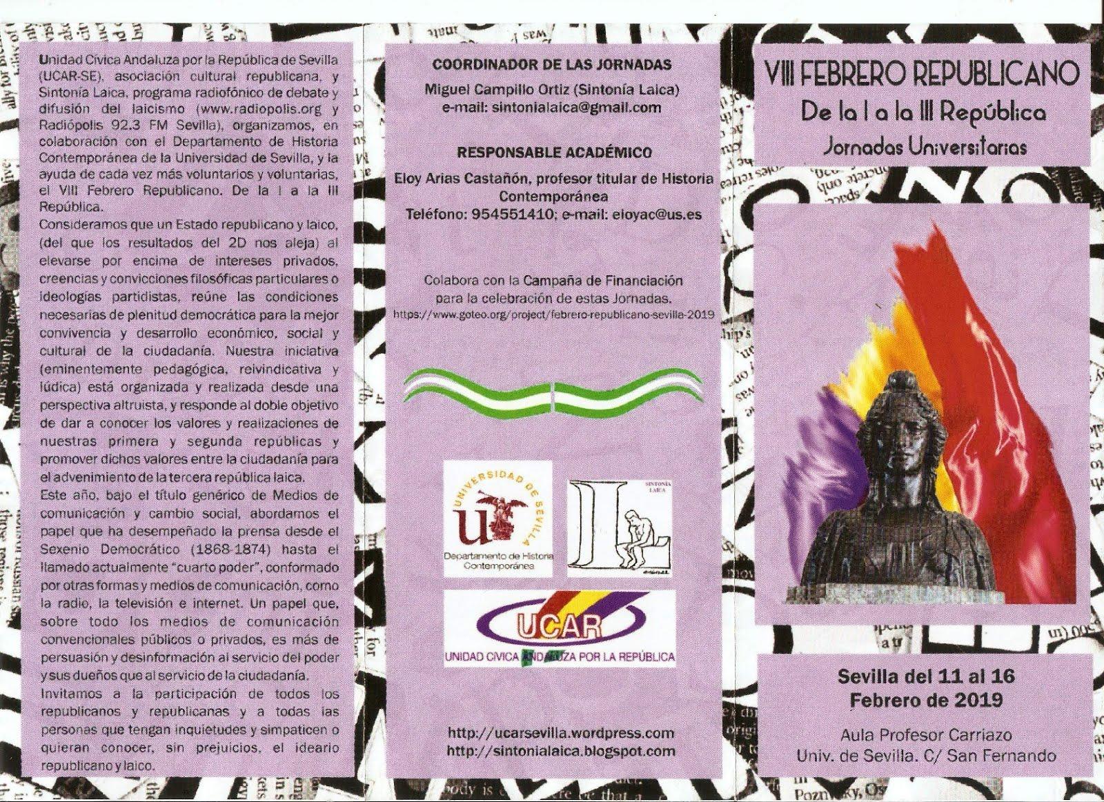 VIII FEBRERO REPUBLICANO. Jornadas Universitarias.
