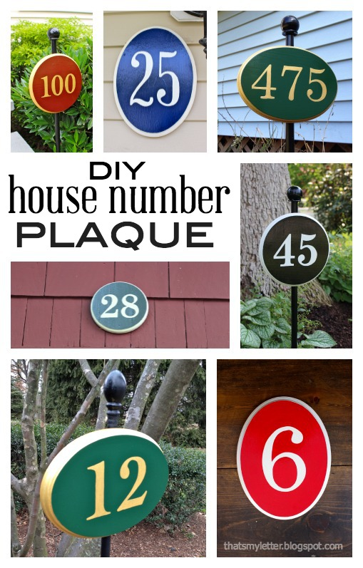 diy house number plaque on post