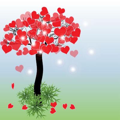 El árbol del amor con muchos corazones rojos - San Valentín