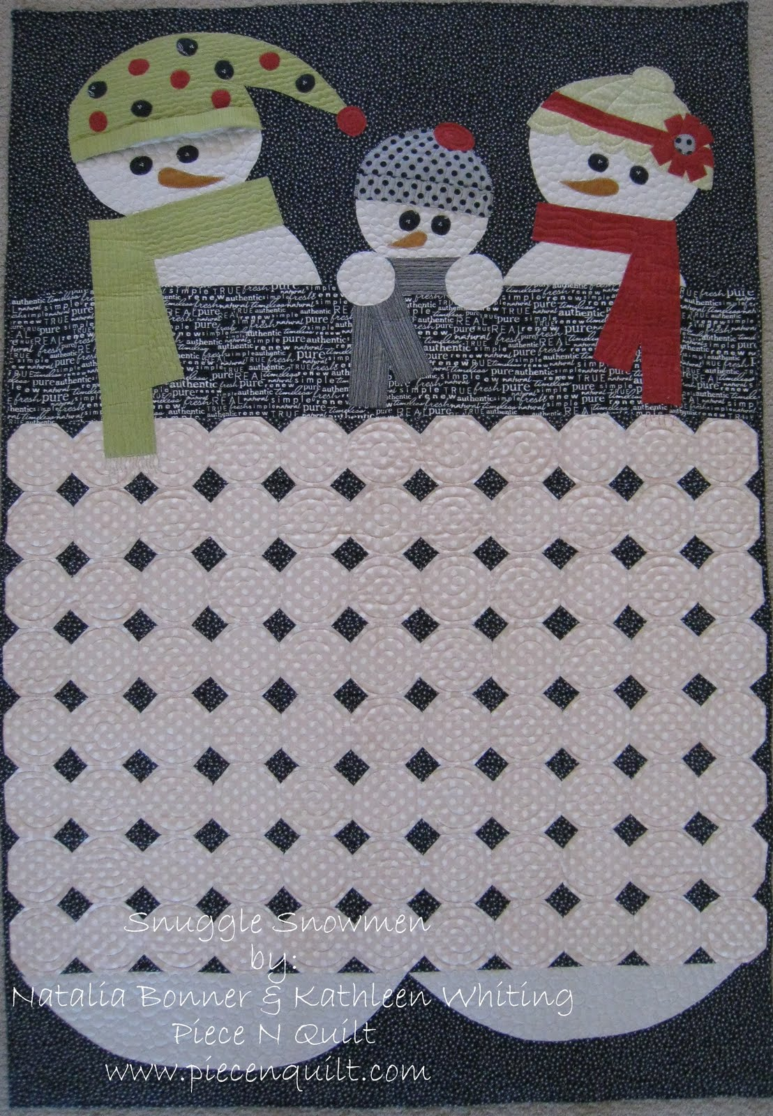 Quilt Inspiration: Free pattern day: Snowflake and snowman quilts