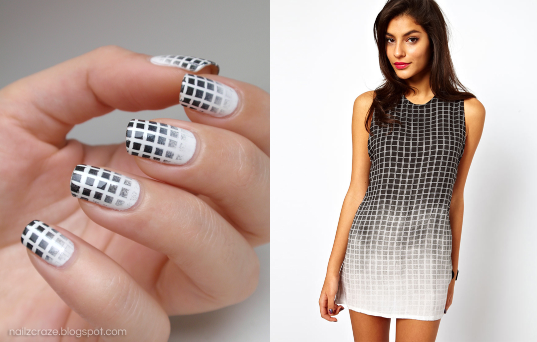 Nails inspired by fashion - Black and White dress - Nailz Craze
