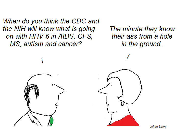 cartoon, cdc, fauci, hhv-6, cfs, aids, ms, autism, julian lake