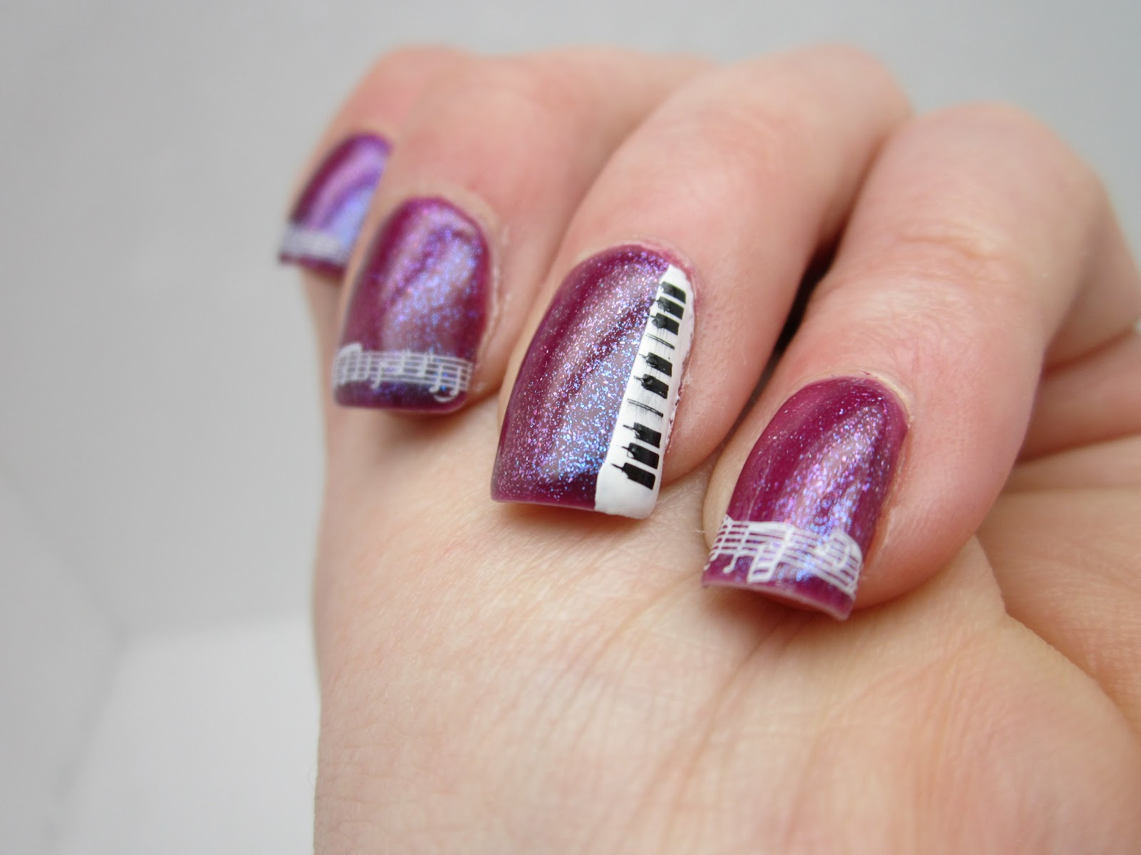Creative nail design by sue march 2012 music themed nails prinsesfo Gallery