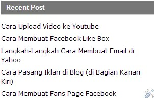 Cara Membuat Recent Post di Blogspot
