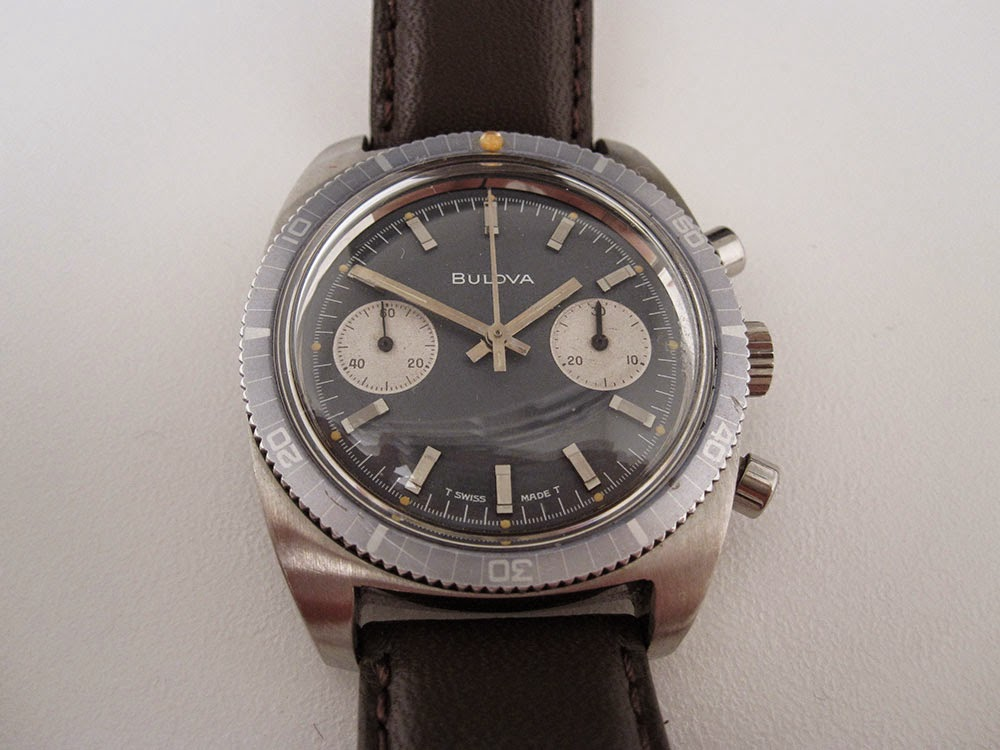 Bulova chronograph with ghost bezel and Valjoux 7733/14EB.