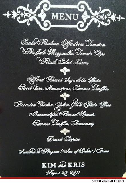 O menu do casamento de Kim Kardashian