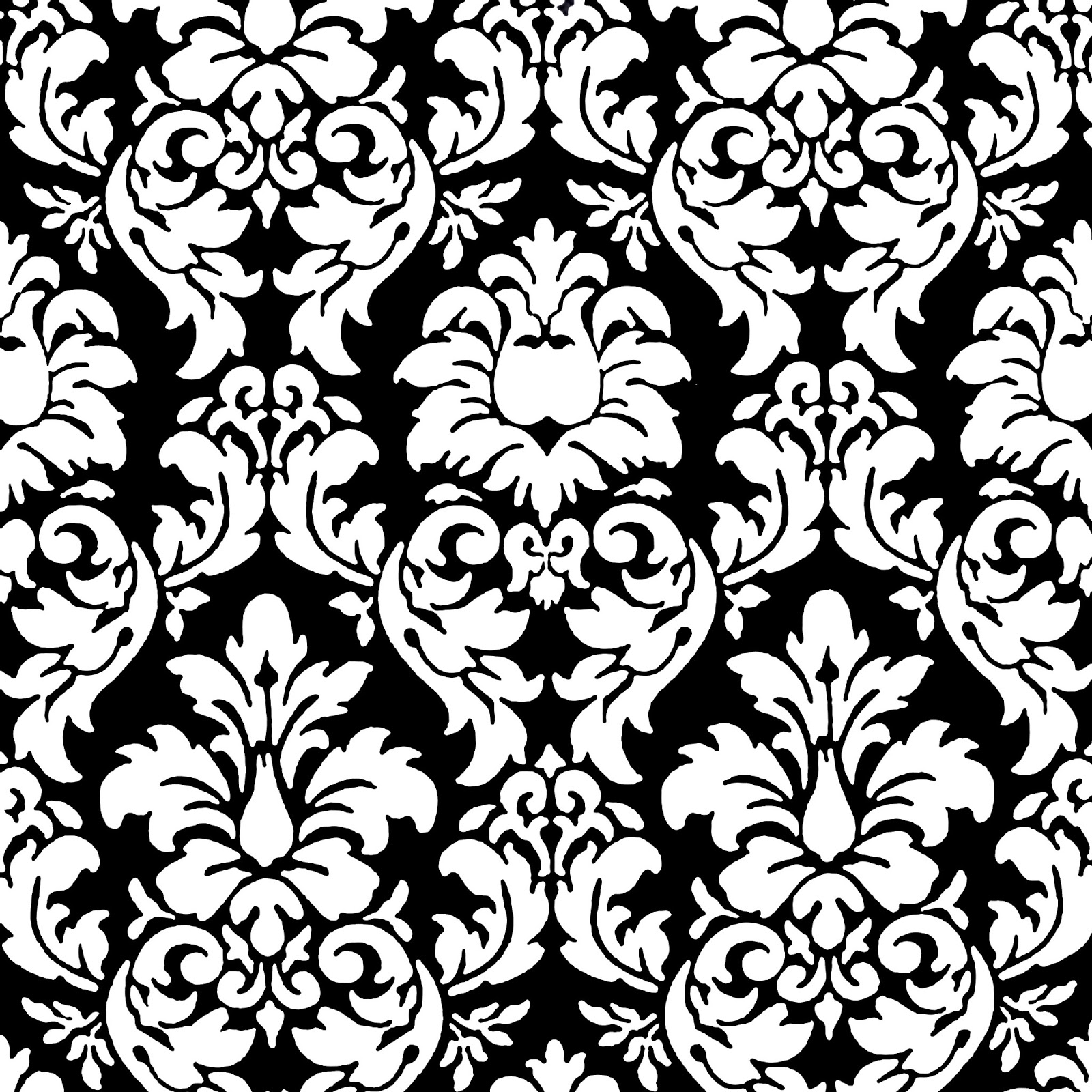 Black on black damask wallpaper for Black white damask wallpaper mural