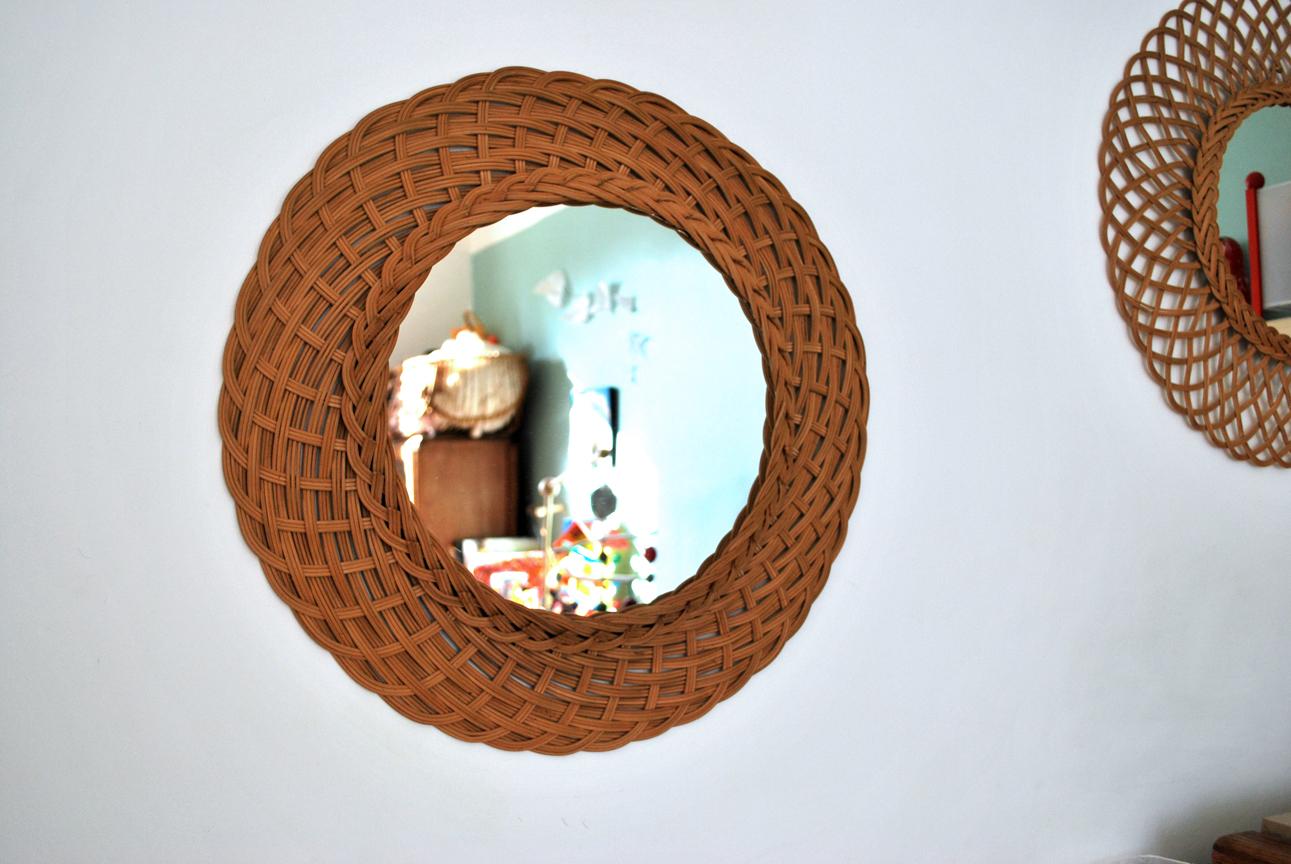 Miroir en osier de forme ronde vendu g n ration vintage for Miroir en osier