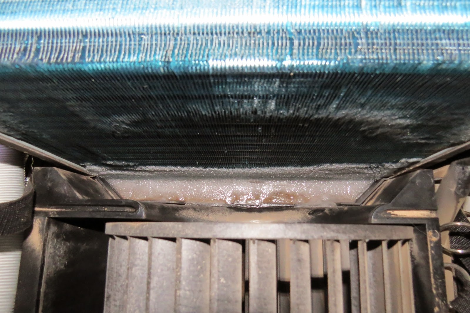 The frozen condensating coil of a Dometic HB2500 air conditioner