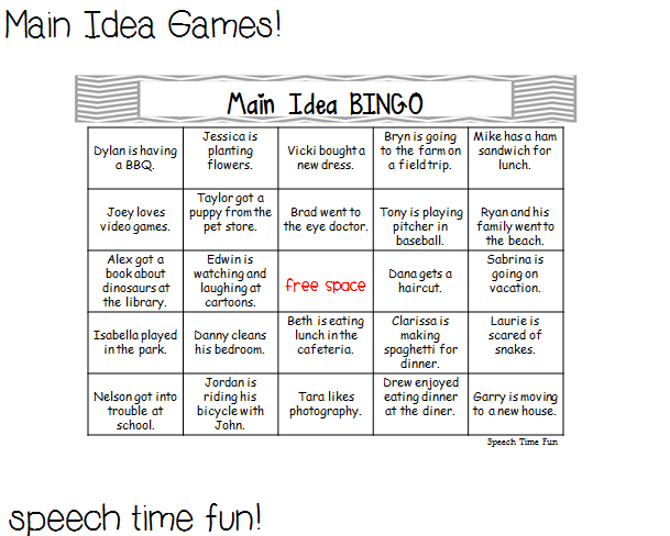 Main Idea Games – Central Idea Worksheets
