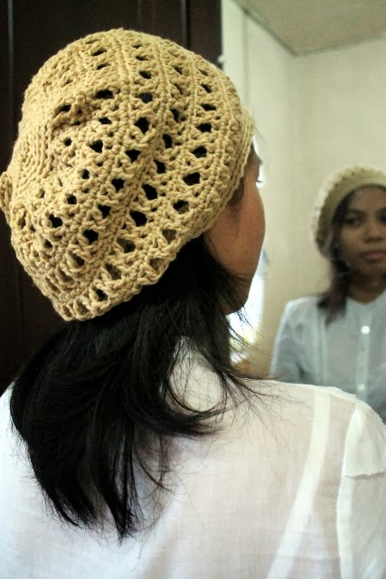 Treble cross stitch crochet slouch beret