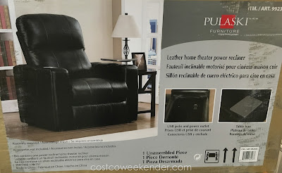 Kick back and relax on the Pulaski Leather Home Theater Power Recliner