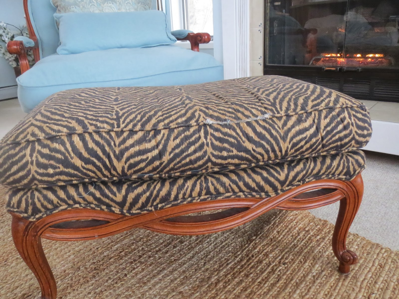 Bergere chair and ottoman - I Had Never Reupholstered Anything Before But I Loved The Beautiful Wood On This Chair And Ottoman And Felt I Had Nothing To Lose