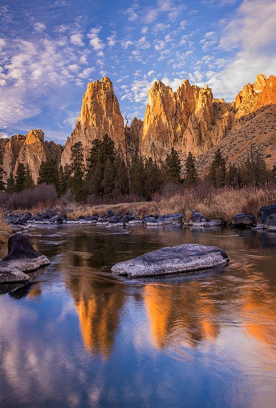F. H. Jacobi - Reflections - Smith Rock State Park, Oregon. Exploring this area would be a fun state park adventure.