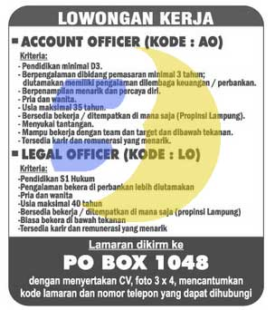 KARIR KERJA LAMPUNG: Account Officer & Legal Officer