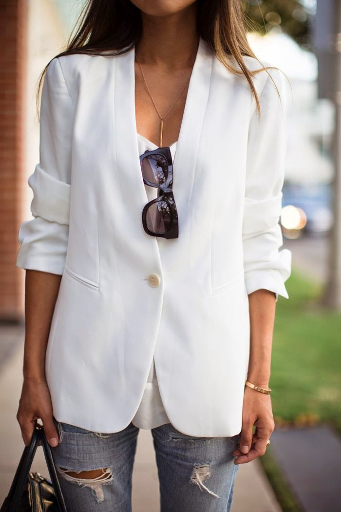 white blazer + ripped jeans