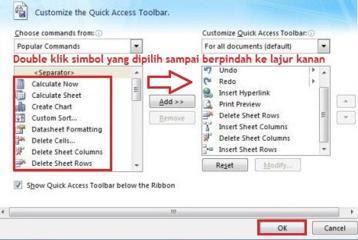 Cara menampilkan simbol perintah di Excel
