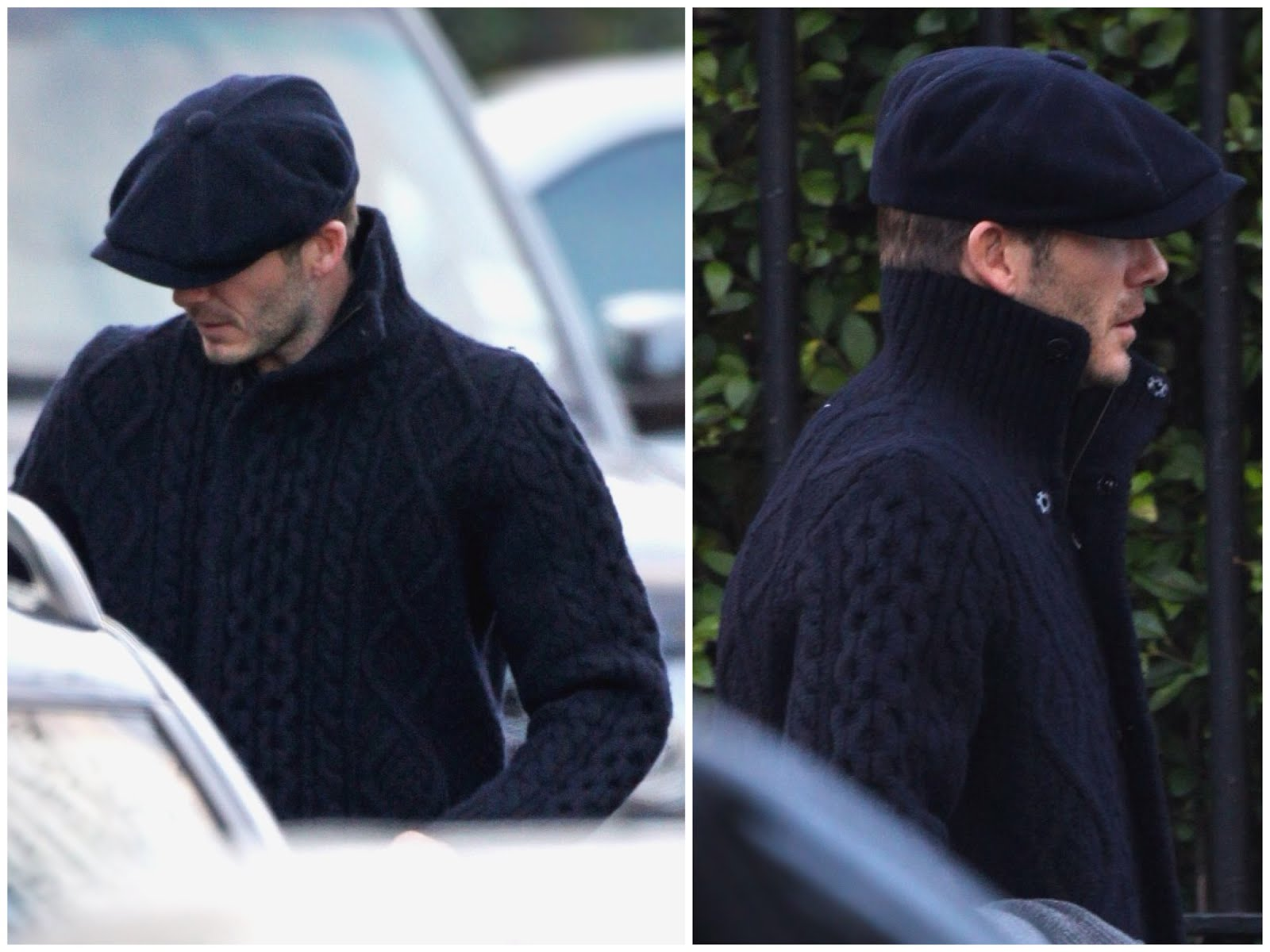 00O00 Menswear Blog David Beckham in Maison Martin Margiela heavy weight cabit knit snap button jacket, out and about in London February 2013