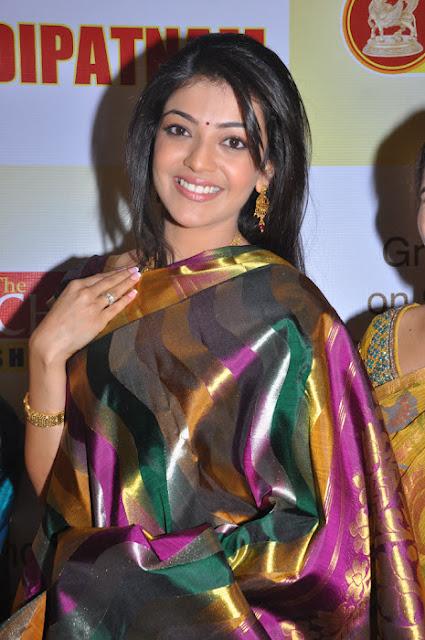 Kajal Agarwal Hot in Silk Saree Photos