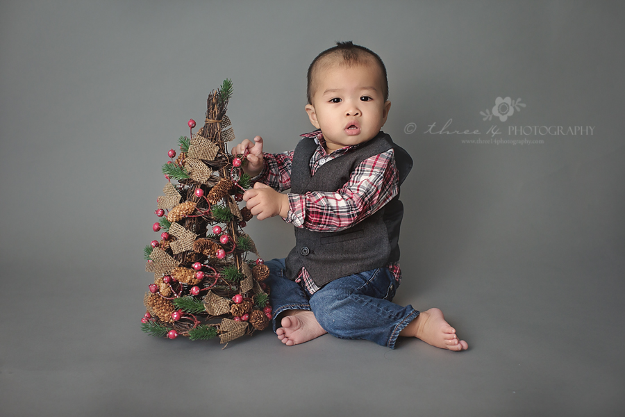 Baby Boy and Christmas Tree
