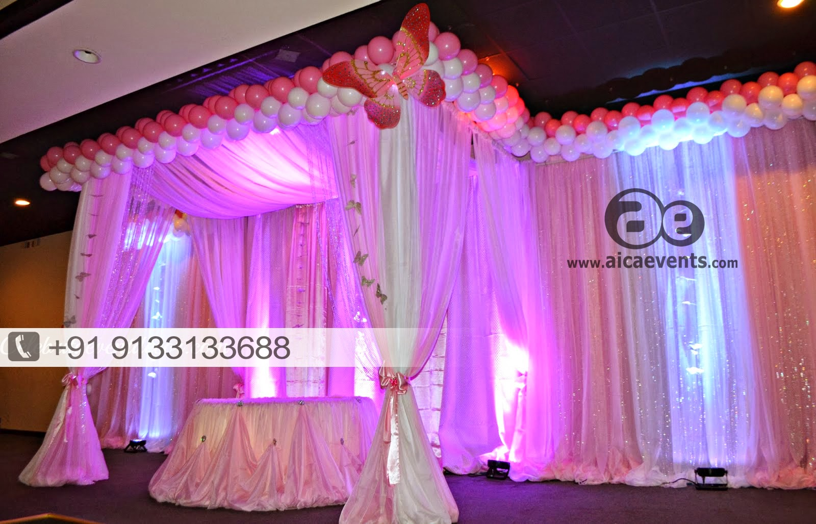 Aicaevents india pretty in pink 1st birthday party for Balloon decoration for stage