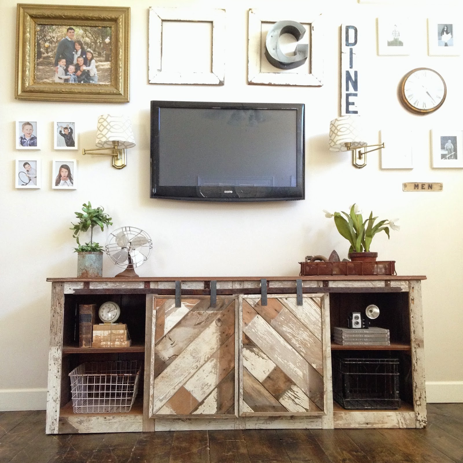 How to make a sofa table out of floor boards - Reclaimed Wood Barn Door Console Beautiful Distressed Chippy Paint
