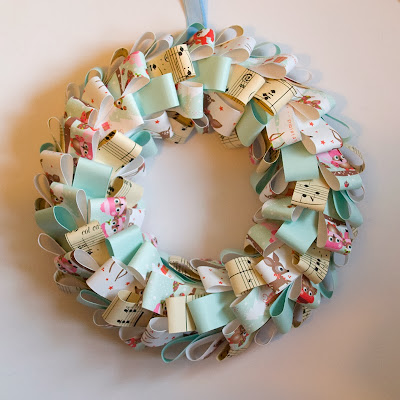 Blue paper Christmas Wreath