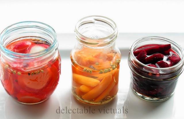 Vinegar Pickled Beets, Radish, Carrots