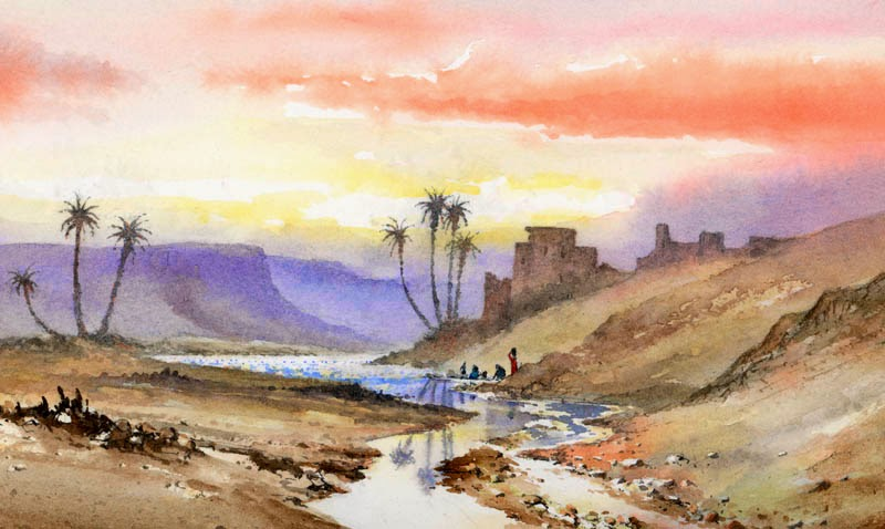 David bellamy painting desert and tropical scenes in for Watercolor scenes beginners