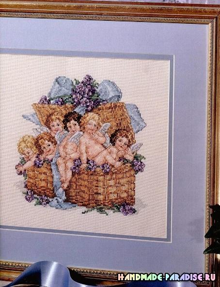 Ангелы в корзинке. Схема вышивки крестом