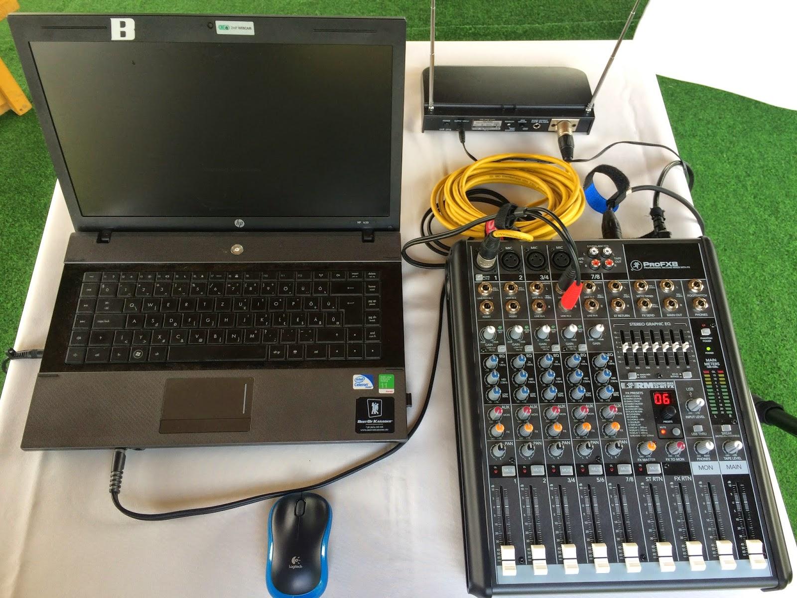 Laptop - keverőpult - mobil mikrofon