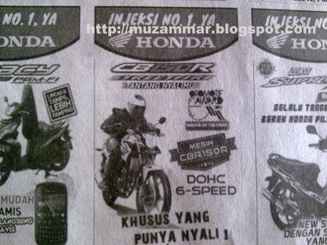"Iklan baris Honda CB150R tag mesin ""CBR 150R"""