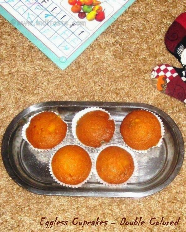 Eggless Cupcakes - Double Colored