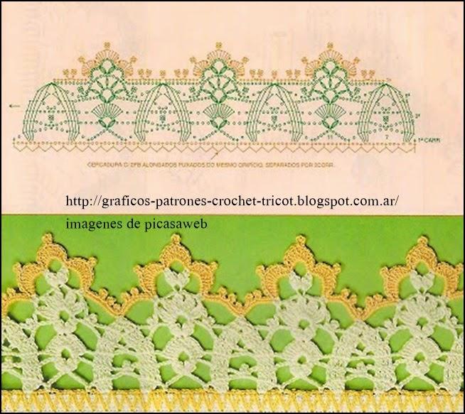 654 x 583 jpeg 108kB, Puntillas tejidas a ganchillo con sus diagramas