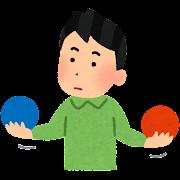 ボールを比較している人のイラスト(男性)