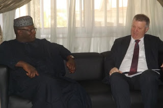 Minister of Solid Minerals Development, Dr Kayode Fayemi, with the Australian High Commissioner to Nigeria, Mr Jonathan Richardson