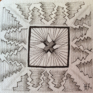 Zentangle, Diva Challenge #219, Tangleations, Fang, Tufti, Helen Rowlands, Light to Go Places