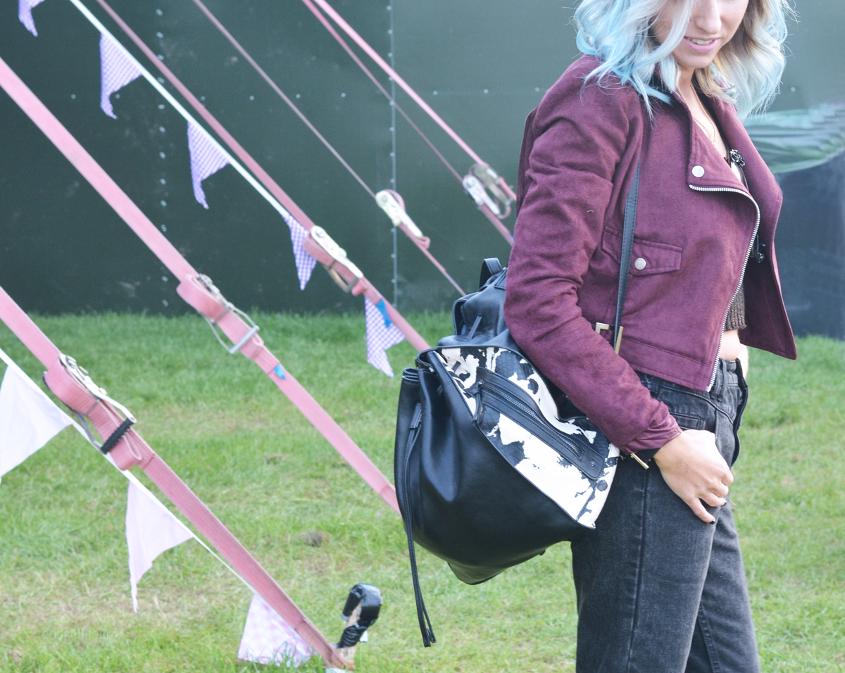 Suede Biker Jacket and Tary Backpack Rock On Holly