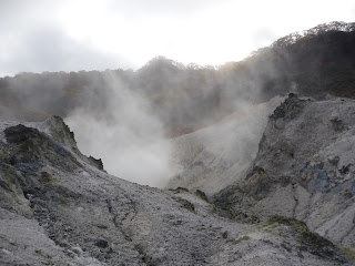 Scorched landscape and steam at Hell Valley (Jigokudani) at noboribestu onsen