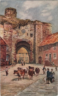 Vintage postcard of The Land Gate, Rye, Sussex, by the artist W.H.Burrow