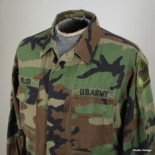 ARMY Military Uniform Shirt MEDIUM Vtg Mens Camouflage Straight Colla