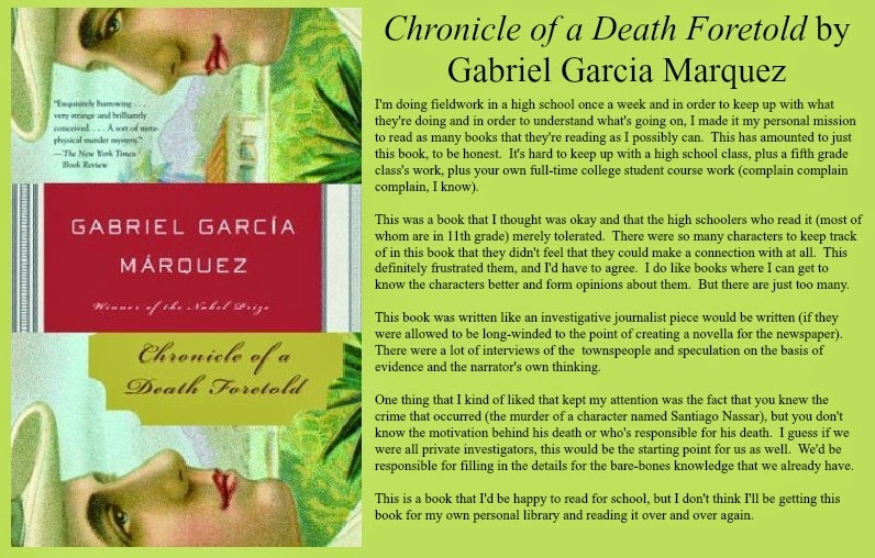 chronicle of a death foretold honor essays Chronicle of a death foretold: still others know about the plot but fail to warn santiago either because they agree with the honor killing or reports & essays.
