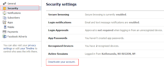 how to close facebook account without password