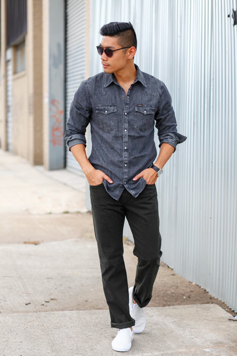 Levitate Style, Menswear, Weekend Casual Style, Big Star Denim Chambray, Vans