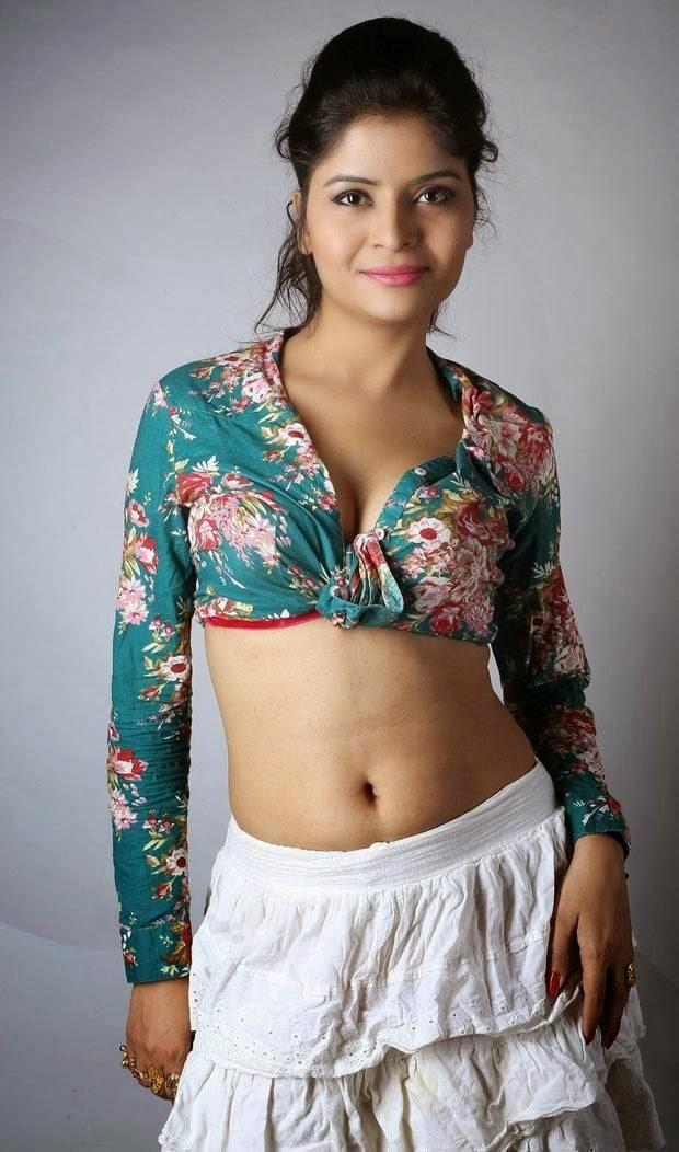 Actress Gehna Vashisht Latest Cute Hot Green Floral Shirt Dress Navel Show Spicy Photoshoot Gallery
